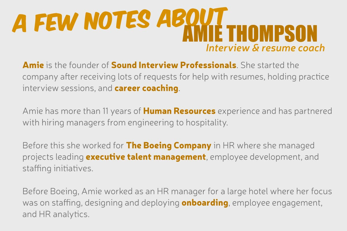 Get to Know... Amie Thompson, Interview & Resume Coach - Blog by ...